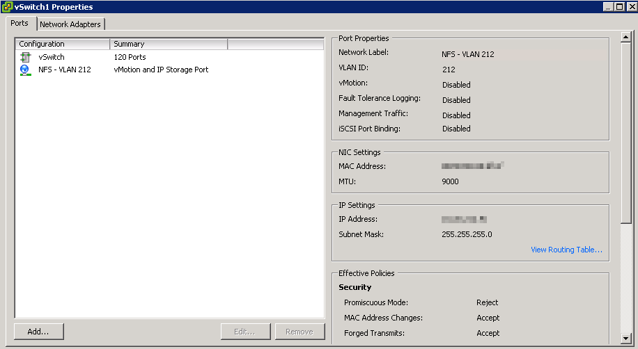 Configuring NFS networking for a nested ESXi VM – Almost a ninja