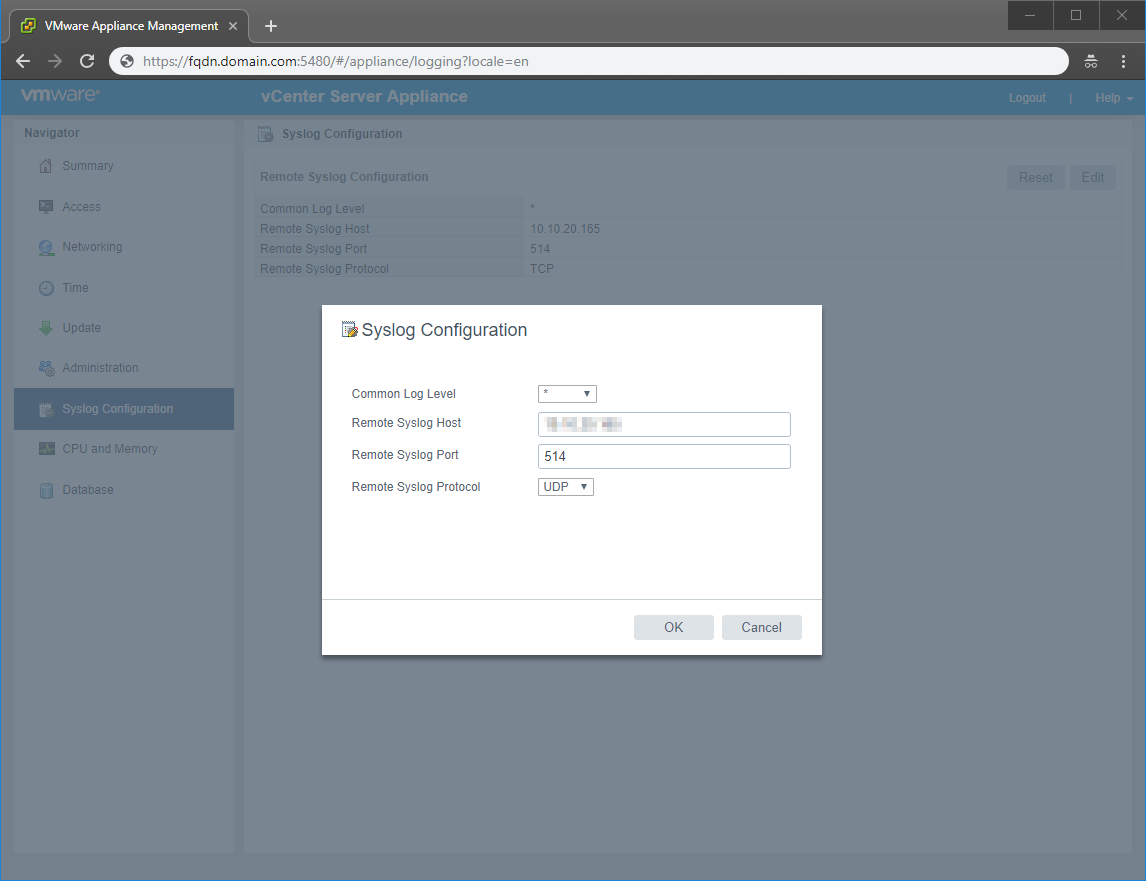 Forward vCenter Server Appliance Log Files to Remote Syslog Server